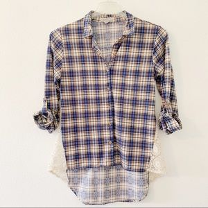 Passport blue plaid button down w/crochet detail